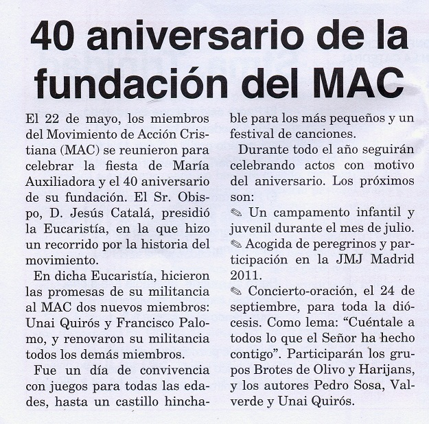 Noticia diocesis 40 Aniversario MAC